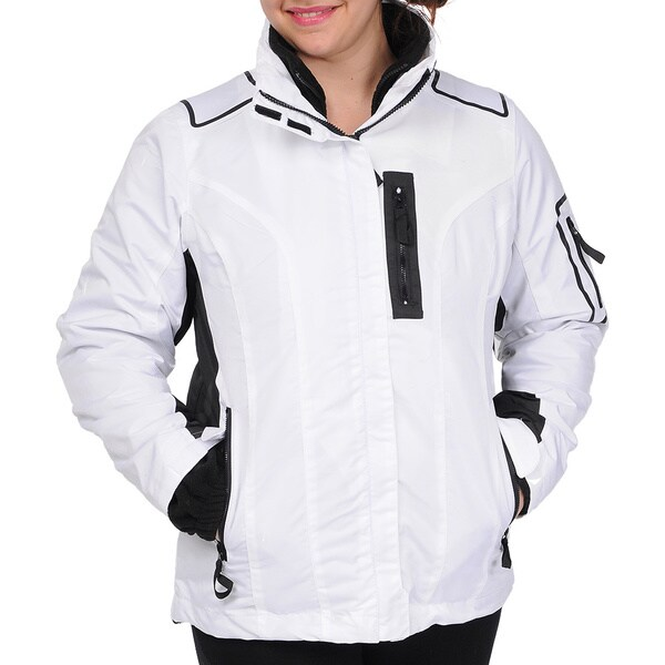 R & O Women's 3-in-1 Water-resistant Hooded Jacket White/Black in Medium (As Is Item)