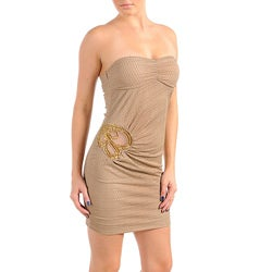 Stanzino Women's Mocha/ White Strapless Party Dress