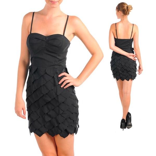 Stanzino Women's Black Sweetheart Bustier Ruffled Dress