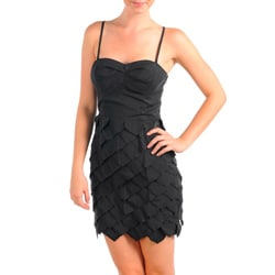 Stanzino Women's Black Sweetheart Bustier Ruffled Dress