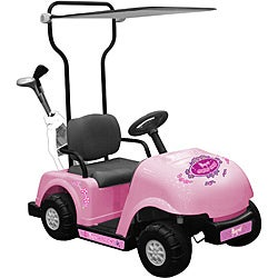 One-seater Pink 6V Golf Cart Ride-on with Golf Bag/ Clubs