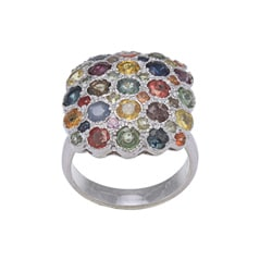 Kabella Sterling Silver Fancy Color Sapphire Cluster Ring