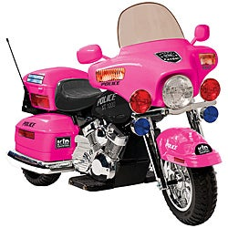 One-seater Pink 12V Police Patrol Motorcycle Ride-on