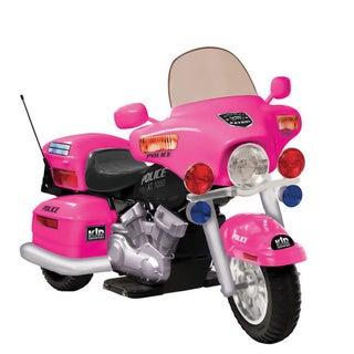 Pink 12V Police Patrol Ride-On Motorcycle