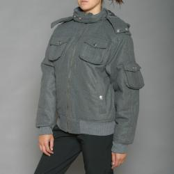 Lexen Women's Grey Wool-blend Bomber Coat