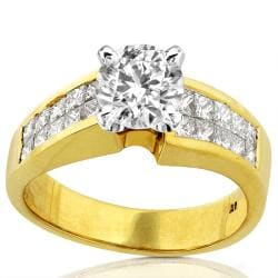 18k Yellow Gold 2ct TDW Diamond Engagement Ring (F-G, I1-I2)