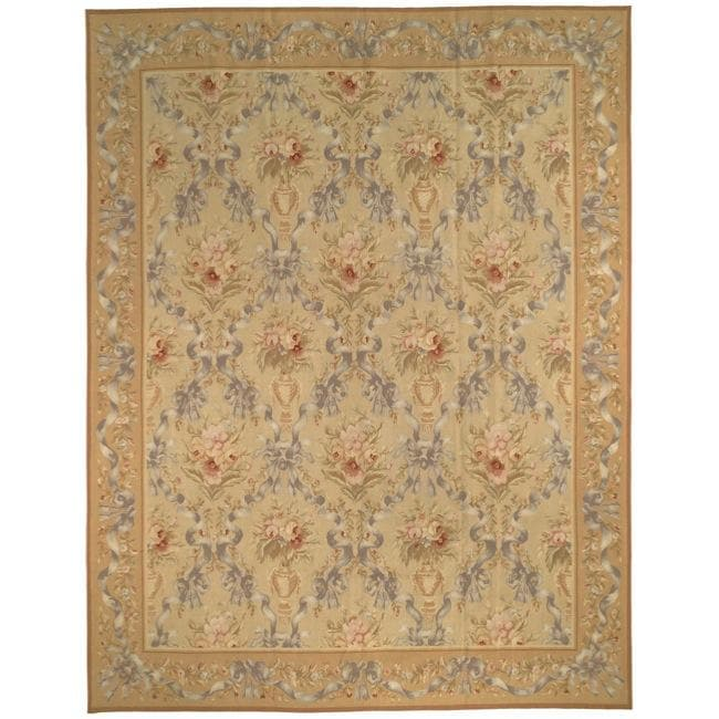 Hand-knotted French AubussonTaupe Wool Rug (12' x 15')