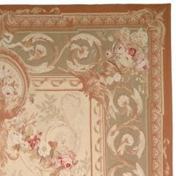 Hand-knotted French Aubusson Weave Ivory Taupe Wool Rug (6' x 9')