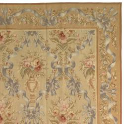 Hand-knotted French Aubusson Beige Wool Rug (10' x 14')
