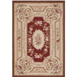 Asian Aubusson Red and Ivory Wool Rug (12' x 18')