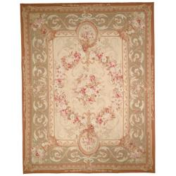 Hand-knotted French Aubusson Weave Ivory Taupe Wool Rug (12&#39; x 18&#39;)