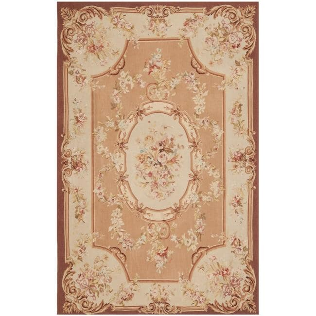Hand knotted French Aubusson Peach Wool Rug (8 x 10)