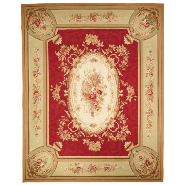 Hand-knotted French Aubusson Weave Red Taupe Wool Rug (10' x 14')