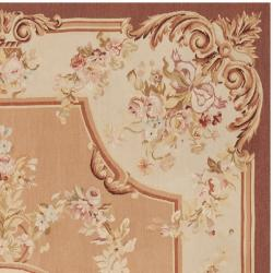 Hand-knotted French Aubusson Peach Wool Rug (6' x 9')