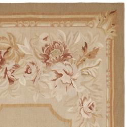 Hand knotted French Aubusson Taupe Wool Rug (4 x 6)