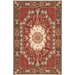 Large Hand-Knotted French Aubusson Red Wool Rug (9' x 12')