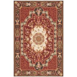 Hand-knotted French Aubusson Red Wool Rug (9' x 12')