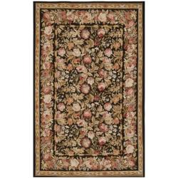 Hand-knotted French Aubusson Weave Black Wool Rug (6' x 9')