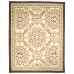Hand-Knotted French Aubusson Ivory Wool Area Rug (9' x 12')