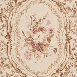 Hand knotted French Aubusson Ivory Wool Rug (12 x 18)