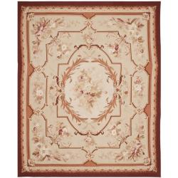 Hand-Knotted French Aubusson Floral Ivory Wool Rug (9' x 12')