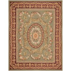 Hand-knotted French Aubusson Taupe Red Wool Rug (9' x 12')
