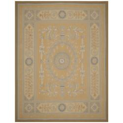 Hand-knotted French Aubusson Weave Gold Beige Wool Rug (12' x 18')
