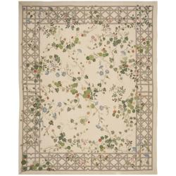 Hand-knotted French Aubusson Ivory Wool Rug (9' x 12')
