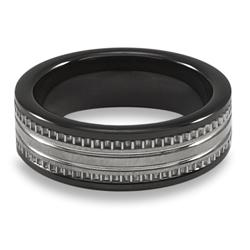 Men's Tungsten Carbide Black Ceramic Inlay Ring