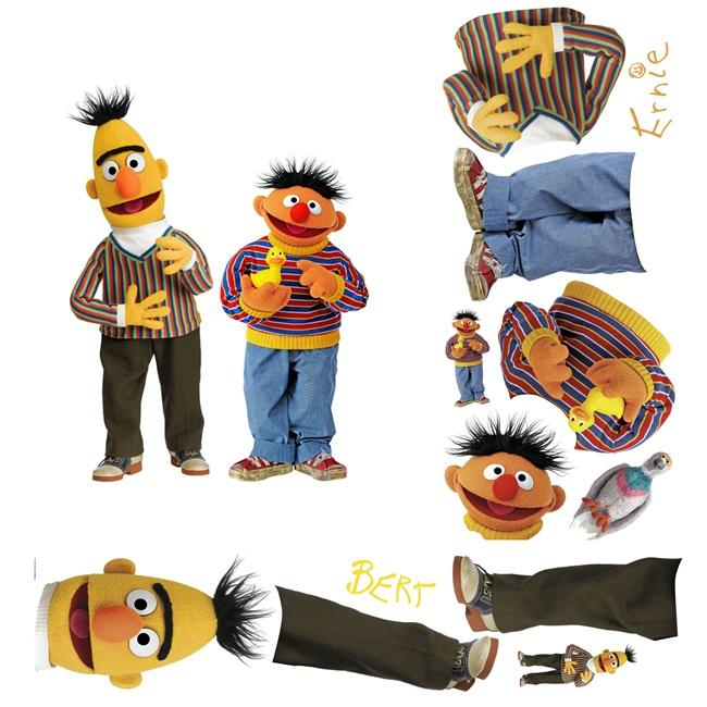 Sesame Street Bert and Ernie Peel and Stick Giant Wall Decals