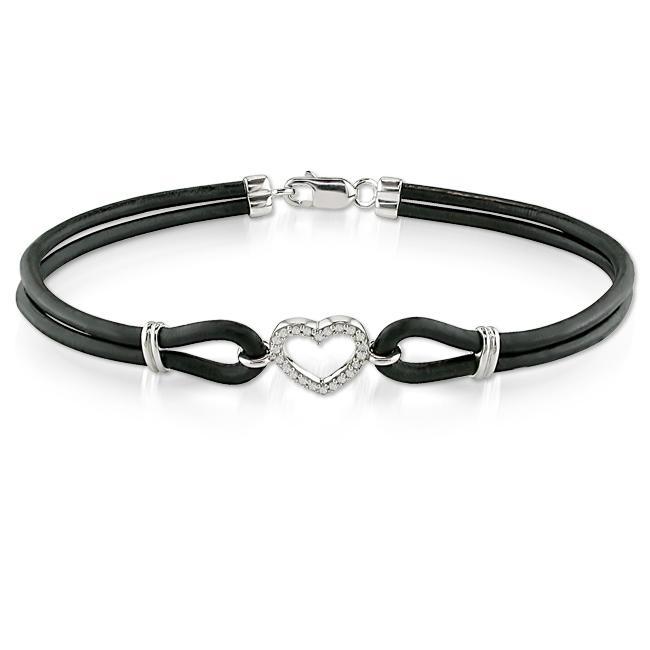 Sterling Silver and Leather 1/10ct TDW Diamond Bracelet (H-I, I2-I3)