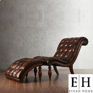 ETHAN HOME Bellagio Classic Brown Bonded Leather Tufted Chaise with Ottoman