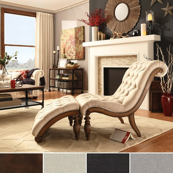 SIGNAL HILLS Bellagio Classic Tufted Chaise Lounge with Ottoman