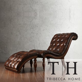 Tribecca home bellagio classic tufted chaise lounge with for Bonded leather chaise
