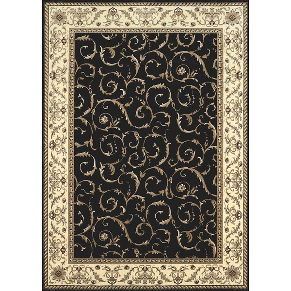 Amalfi Scroll Black Oriental Area Rug (5'5 x 7'7)