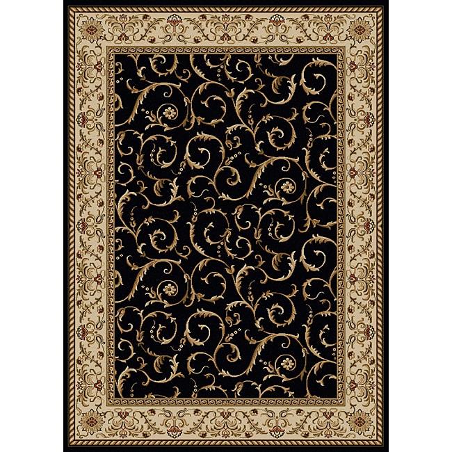 Amalfi Scroll Black Oriental Area Rug (5'5 x 7'7)
