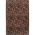 Nepalese Hand-Knotted Red and Putty Bottle Caps Wool Rug (4' x 6')
