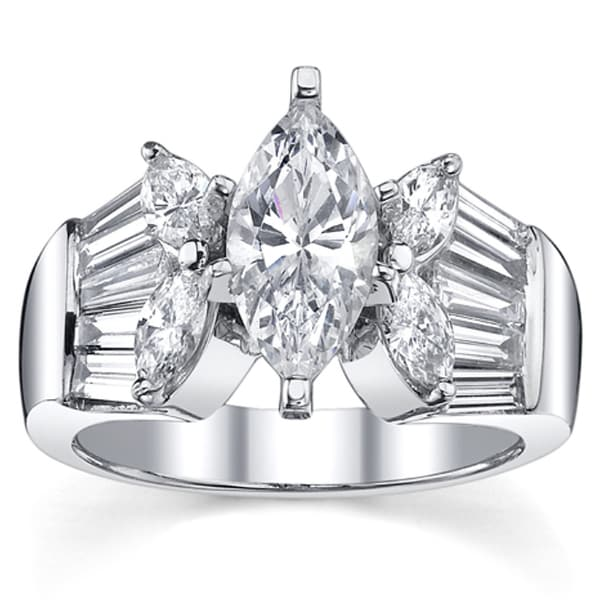 18k White Gold 2 1/2ct TDW Certified Diamond Engagement Ring (I, SI3)
