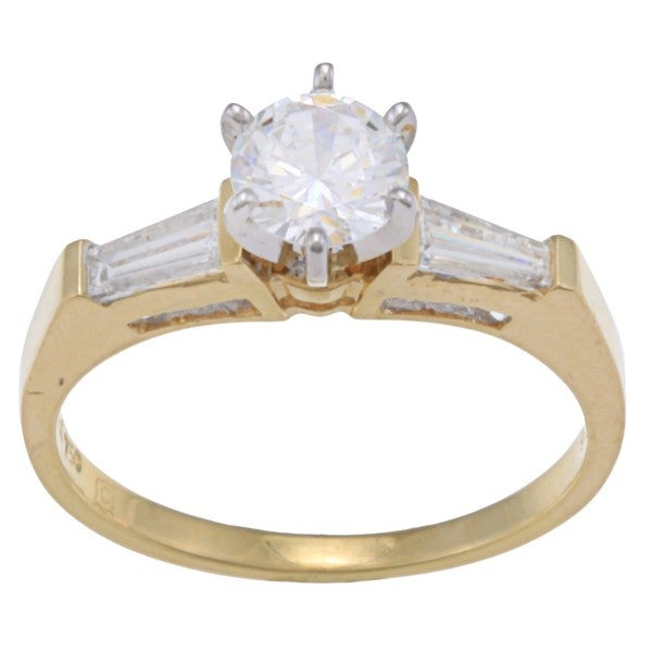 Kabella 18k Yellow Gold CZ and 3/8ct TDW Diamond Engagement Ring (G-H, VS1-VS2)