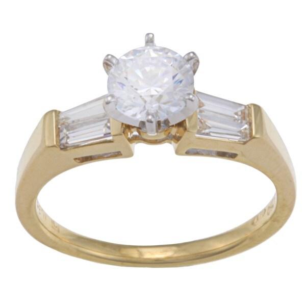 Kabella 18k Yellow Gold CZ and 1/3ct TDW Diamond Engagement Ring (G-H, VS1-VS2)