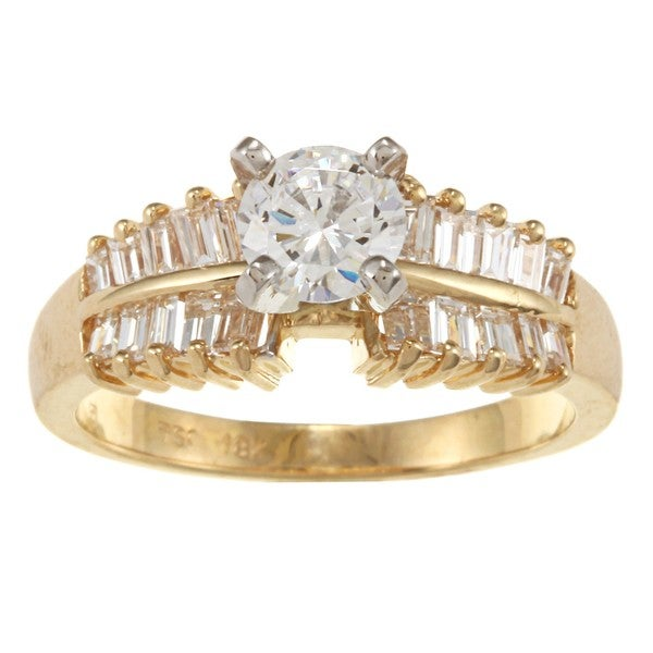 Kabella 18k Yellow Gold Cubic Zirconia and 7/8ct TDW Diamond Ring (G-H, VS1-VS2)