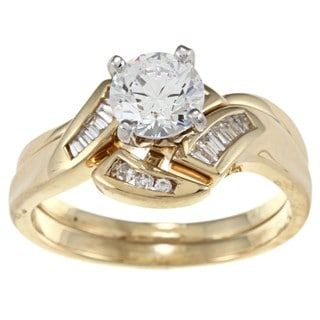 Kabella 18k Yellow Gold CZ and 1/5ct TDW Diamond Engagement Ring (H-I, SI1-SI2)