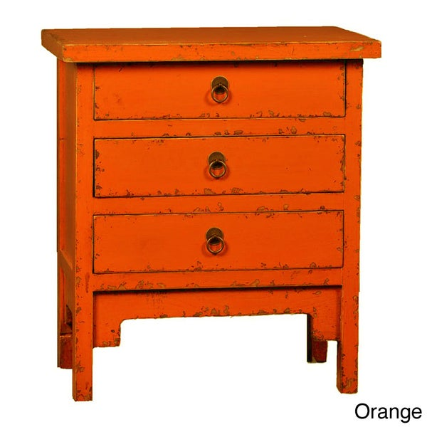 Black or Orange 3-drawer End Table