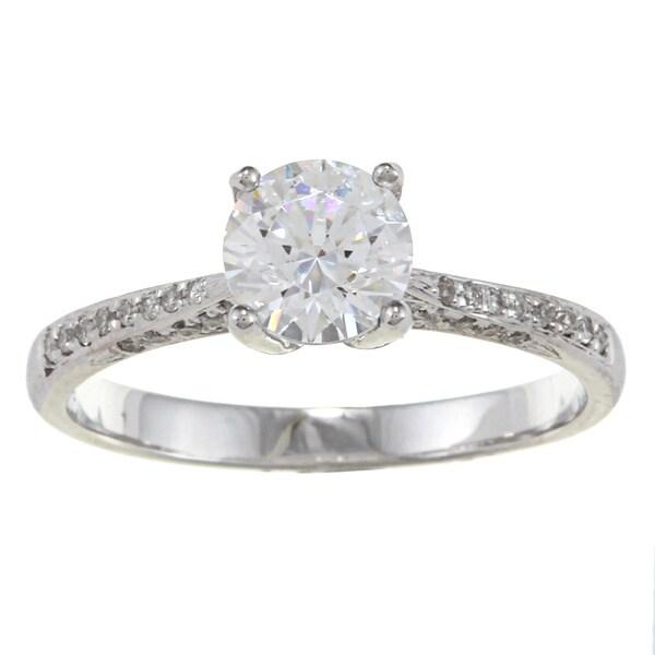 Kabella 14k White Gold CZ and 1/3ct TDW Diamond Engagement Ring (G-H, VS1-VS2)