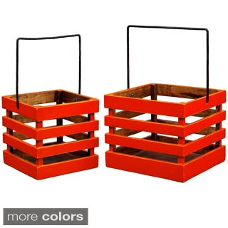 French Style Wooden Hanging Planter (Set of 2)