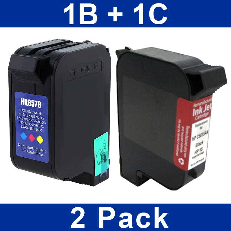 INSTEN HP 15/ 78 750/ 950/ V40 Black and Colored Ink Cartridges (Refurbished)