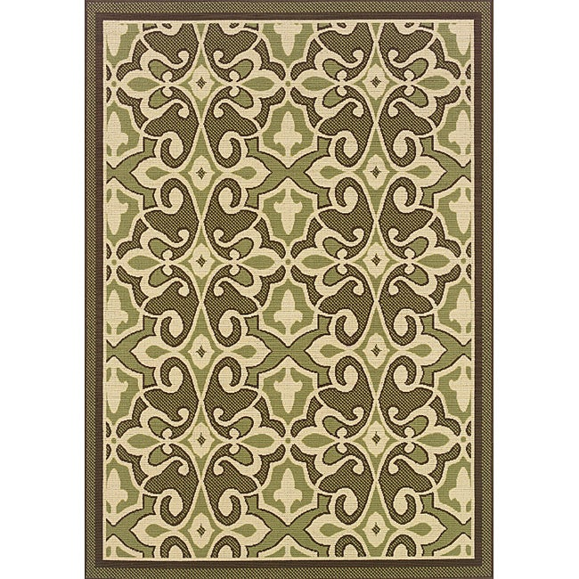 "Green/Ivory Outdoor Area Rug (8'6"" x 13')"