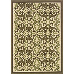 "Green/Ivory Outdoor Polypropylene Area Rug (8'6"" x 13')"
