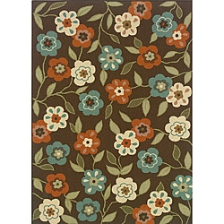 Brown/Ivory Floral Outdoor Area Rug (8'6 x 13')