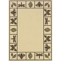 Ivory/ Brown Outdoor Area Rug (8'6 x 13')